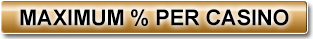 View the Maximum % per Casino.